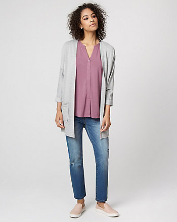 Jersey Knit Open-Front Cardigan