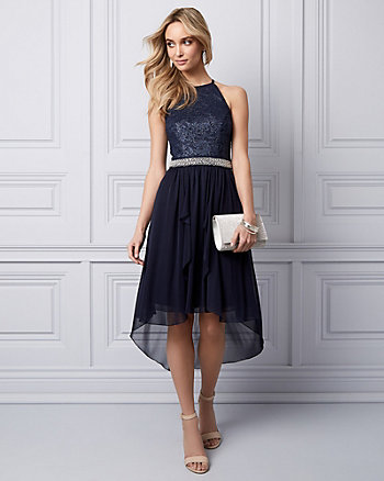 Lace & Mesh High-Low Party Dress