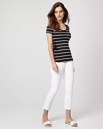 Cotton Blend Skinny Leg Crop Pant