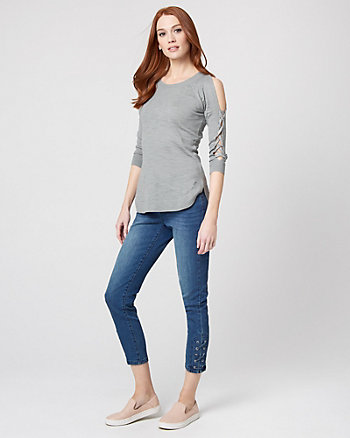 Cotton Blend Lace-Up Sleeve Sweater