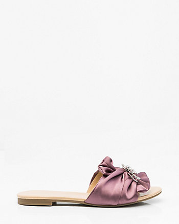 Embellished Satin Bow Slide