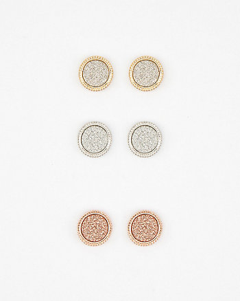 Set of Three Glitter Stud Earrings