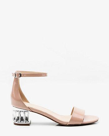 Patent Embellished Block Heel Sandal