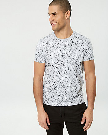 Bird Print Cotton Blend Crew Neck Tee
