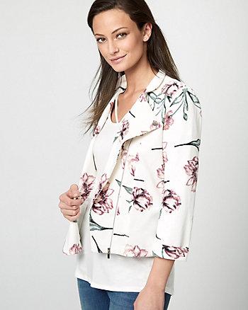 Floral Print Knit Crêpe Zip-Front Blazer