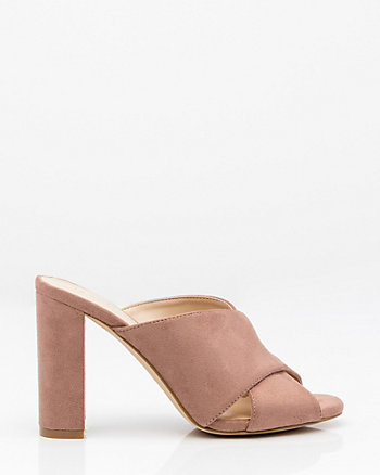 Criss-Cross Block Heel Mule