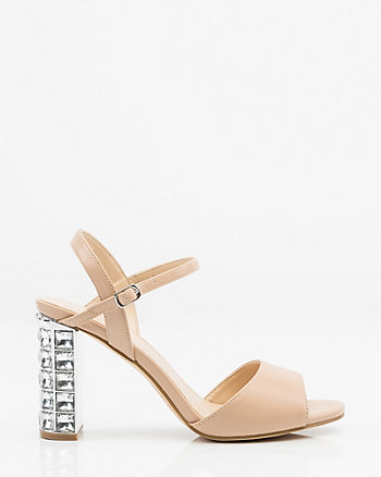 Jewel Embellished Block Heel Sandal