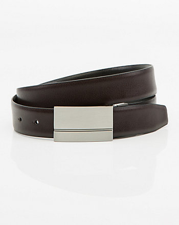 Reversible Split Leather Plaque Belt