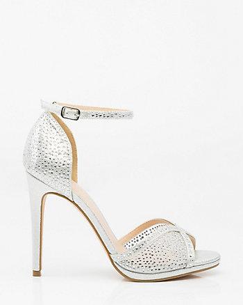 Jewel Embellished Mesh Platform Sandal