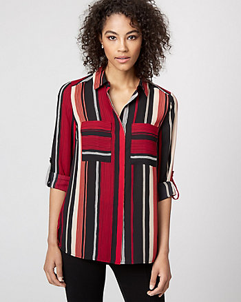Stripe Crêpe de Chine Button-Front Blouse