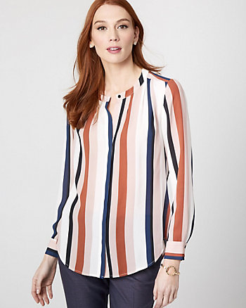 Stripe Crêpe de Chine Pleated Blouse
