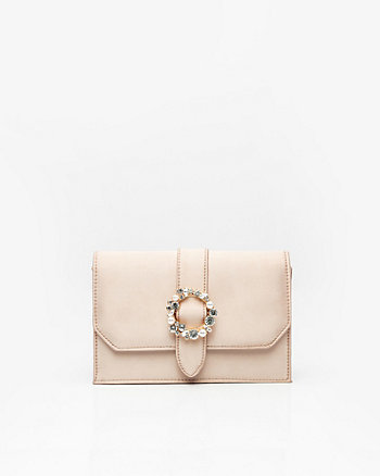 Brooch Embellished Satin Flapover Clutch