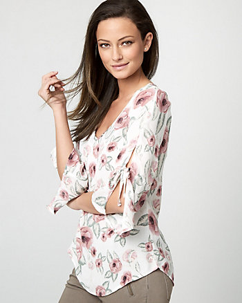 Floral Print Satin Bell Sleeve Blouse