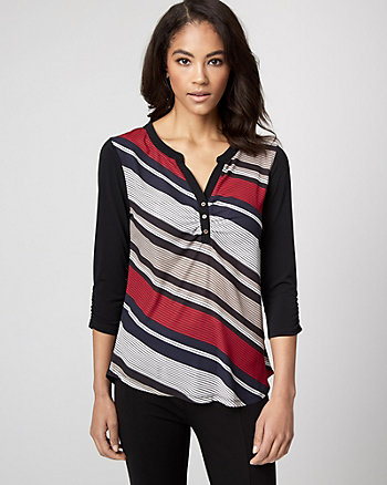 Stripe Knit Henley Neck Top
