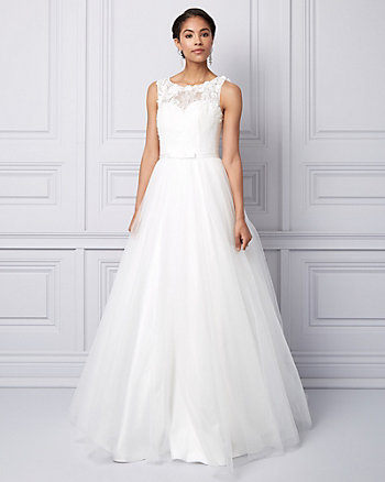 Lace & Tulle Illusion Ball Gown