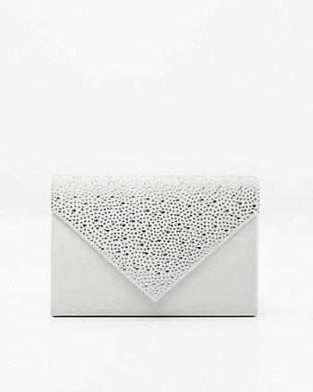 Jewel Embellished Satin Envelope Clutch