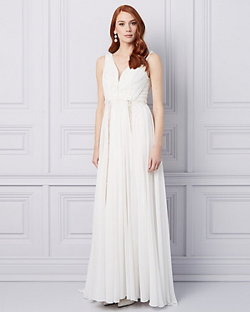 Embroidered Chiffon V-Neck Gown