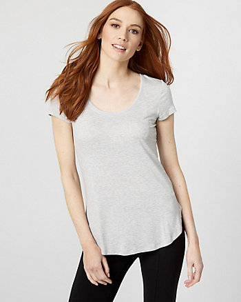 Knit Scoop Neck T-Shirt