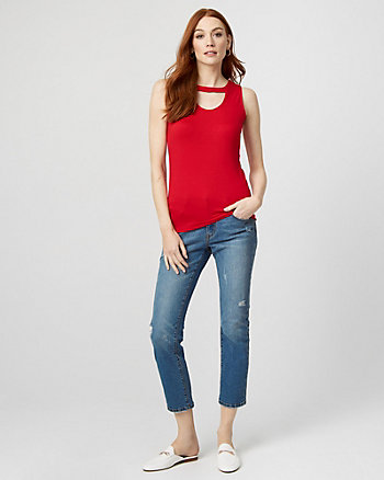 Crêpe Cutout Top
