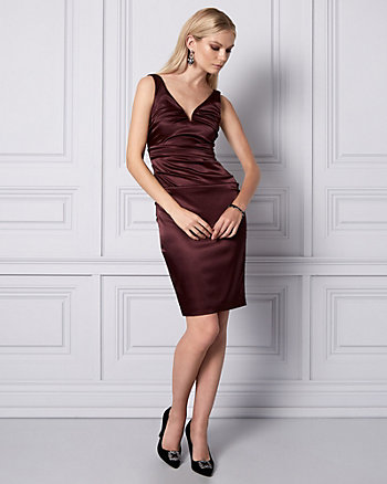 Ruched Satin V-Neck Cocktail Dress