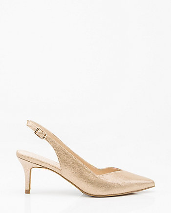 Metallic Foil Pointy Toe Slingback Pump