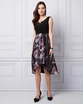 Floral Print Organza Cocktail Dress