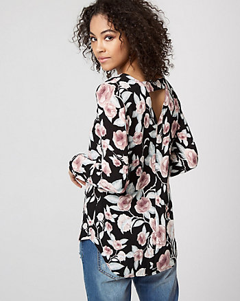 Floral Print Cutout Back High-Low Blouse