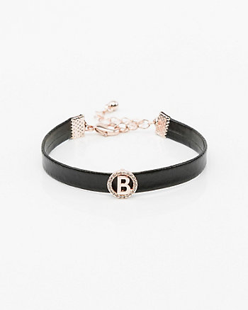 Leather-Like Initial Bracelet (A-M)