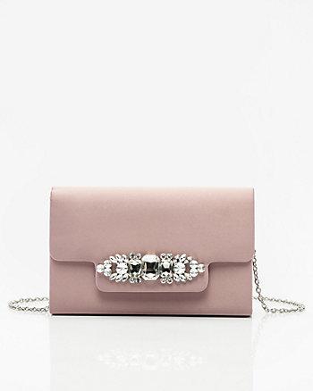 Jewel Embellished Flapover Clutch