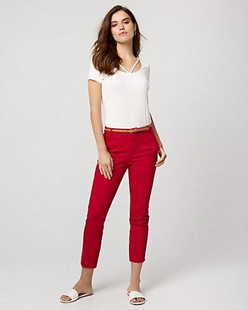 Belted Cotton Blend Slim Leg Pant