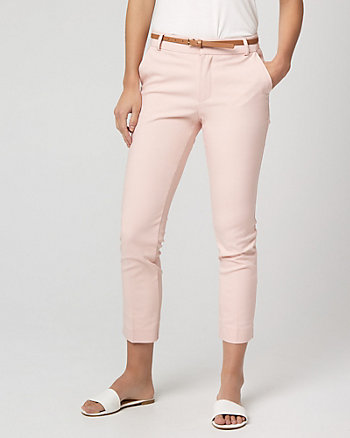 Belted Cotton Blend Slim Leg Pant