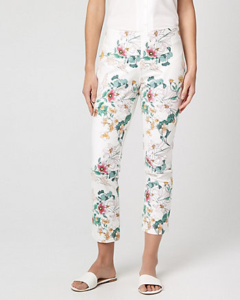 Floral Cotton Blend Skinny Leg Crop Pant
