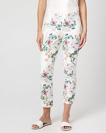 Floral Cotton Blend Skinny Leg Crop Pant