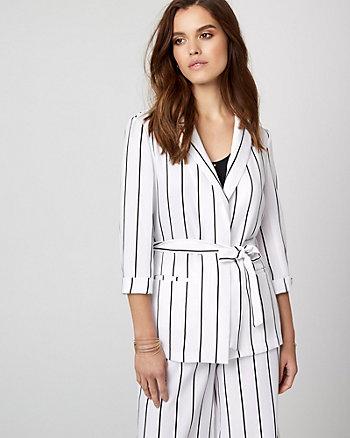 Stripe Crêpe de Chine Belted Blazer