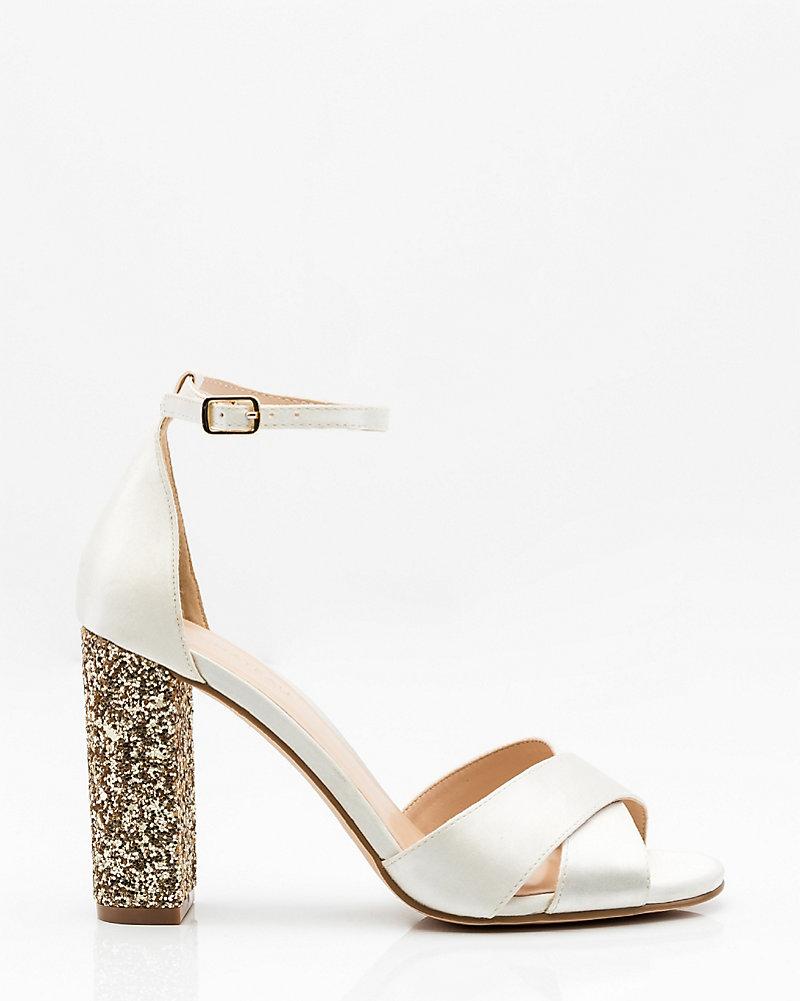 96fd8ce217f LE CHÂTEAU: Glitter Block Heel Sandal