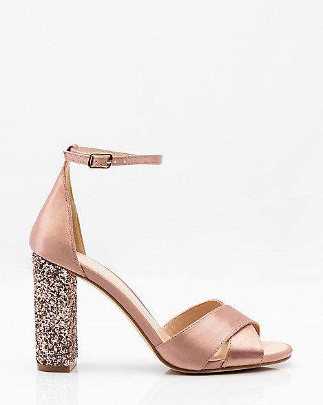 Glitter Block Heel Sandal   LE CHÂTEAU