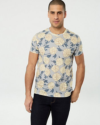 Floral Print Cotton Blend Crew Neck Tee