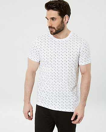 Sailboat Print Cotton V-Neck Tee