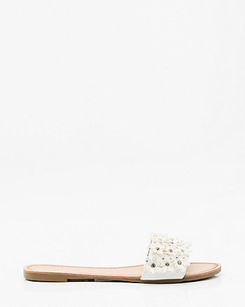 Jewel Embellished Floral Slide Sandal