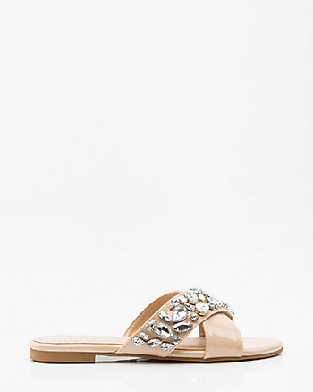 Jewel Embellished Patent Criss-Cross Slide