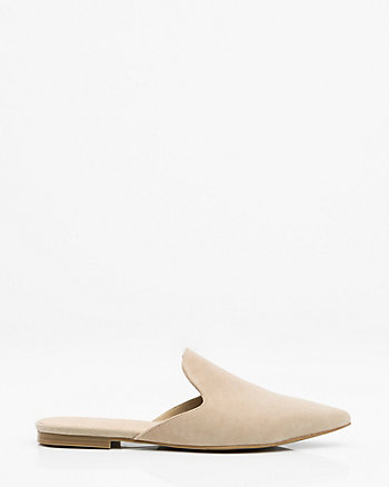 Suede Pointy Toe Loafer Mule