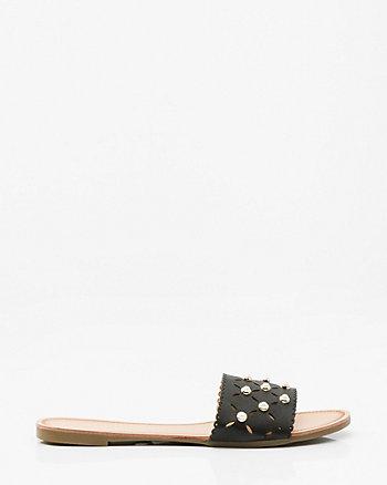 Pearl Embellished Slide Sandal