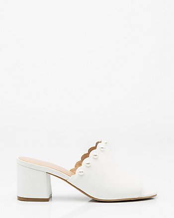 Pearl Embellished Open Toe Mule
