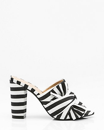 Knotted Stripe Open Toe Mule