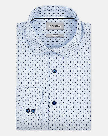 Printed Cotton Blend Athletic Fit Shirt