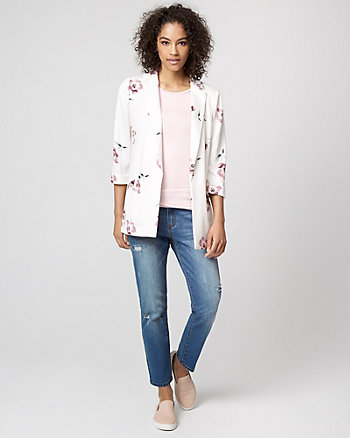 Floral Print Jersey Knit Notch Collar Blazer