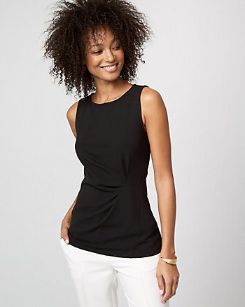 Knit Crêpe Crew Neck Sleeveless Top