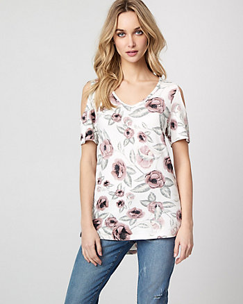 Floral Print Jersey Knit Cold Shoulder Top