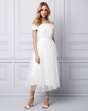 Off-the-Shoulder Tea Length Dress
