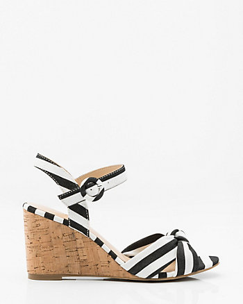 Stripe Wedge Sandal
